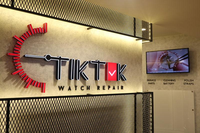 TIK-TOK Watch Repair Logo Signage